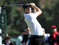 February 13, 2014; Pacific Palisades, CA, USA; Jimmy Walker hits from the second hole tee during the first round at Riviera Country Club. Mandatory Credit: Gary A. Vasquez-USA TODAY Sports