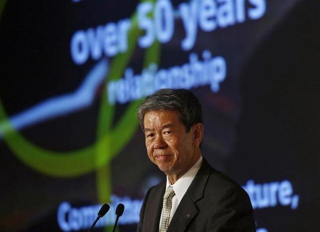 Toshiba's Chief Executive Officer Hisao Tanaka addresses a news conference in New Delhi February 14, 2014. REUTERS/Anindito Mukherjee