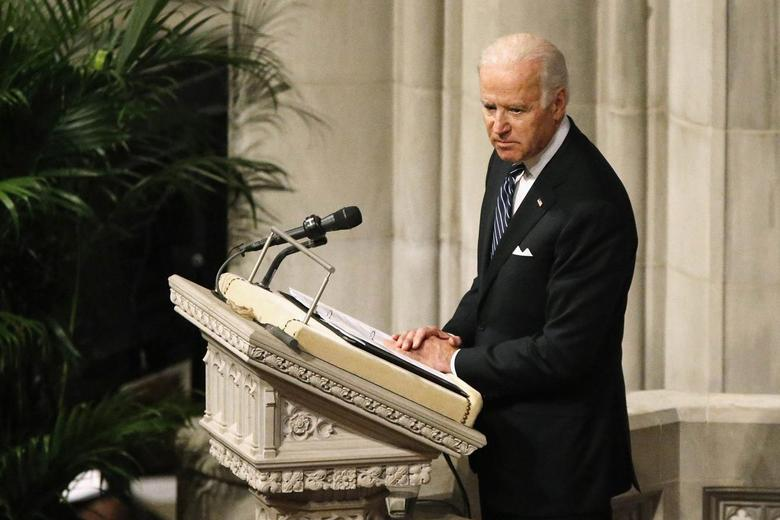 U.S. Vice President Joe Biden delivers a tribute during the National Memorial Service for Nelson Mandela at the National Cathedral in Washington, December 11, 2013 file photo. REUTERS/Jonathan Ernst
