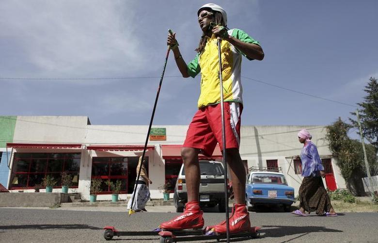 Ethiopian skier Robel Teklemariam poses during training on the street of the capital Addis Ababa February 3, 2010. REUTERS/Irada Humbatova