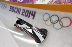Pilot Steven Holcomb of the U.S. speeds down the track during a two-man bobsleigh training session at the Sanki Sliding Center in Rosa Khutor at the Sochi 2014 Winter Olympics February 15, 2014. REUTERS/Murad Sezer