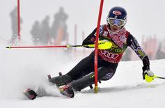 Mikaela Shiffrin of the U.S. competes during the first run of women's FIS Alpine Skiing World Cup slalom race in Kranjska Gora February 2, 2014. REUTERS/Srdjan Zivulovic