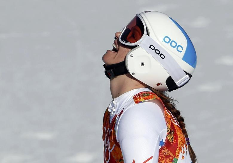 Julia Mancuso of the U.S. reacts in the finish area during the women's alpine skiing Super G competition during the 2014 Sochi Winter Olympics at the Rosa Khutor Alpine Center February 15, 2014. REUTERS/Leonhard Foeger