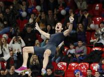 Renaud Lavillenie of France establishes a pole vault indoor world record as he competes in the Pole Vault Stars meeting in Donetsk February 15, 2014. REUTERS/Valeriy Bilokryl