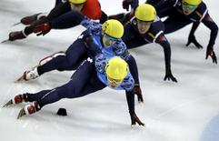 Viktor Ahn (front) of Russia competes in the men's 1500m final race during the ISU Short Track World Cup speed skating competition in Shanghai December 8, 2012. Ahn won the gold medal. REUTERS/Carlos Barria