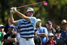 February 16, 2014; Pacific Palisades, CA, USA; Bubba Watson hits from the second hole tee during the final round of the Northern Trust Open at Riviera Country Club. Gary A. Vasquez-USA TODAY Sports