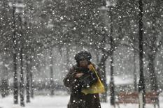 Женщина идет по московской улице во время снегопада 11 февраля 2014 года. Рабочая неделя в Москве будет пасмурной и мокрой, ожидают синоптики. REUTERS/Maxim Shemetov