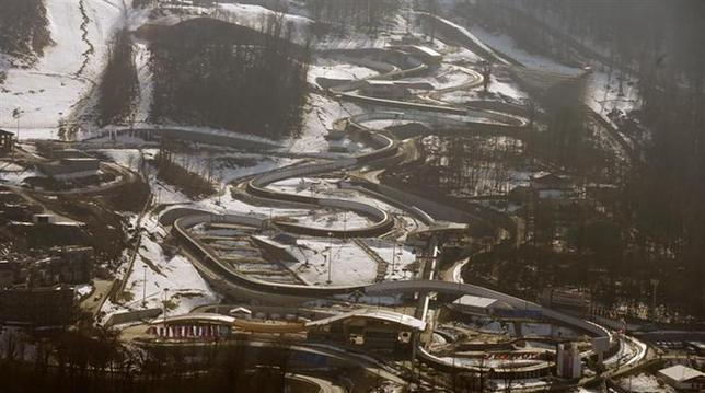 A general view shows the Sanki sliding center in Rosa Khutor, a venue for the 2014 Sochi Olympic Winter Games near Sochi, February 16, 2014. REUTERS/Arnd Wiegmann