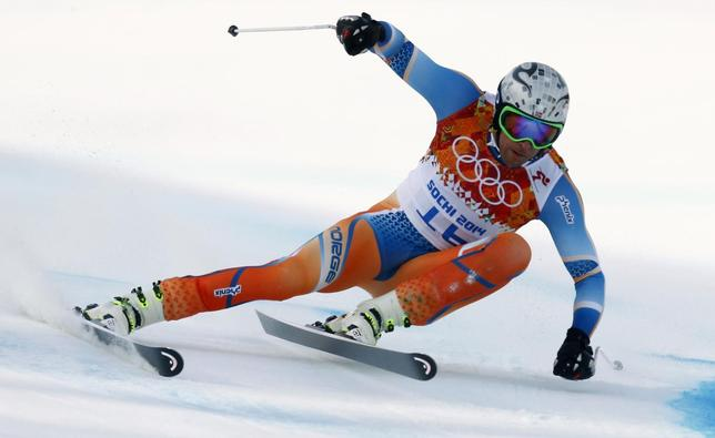 Norway's Aksel Lund Svindal skis during the men's alpine skiing Super-G competition at the 2014 Sochi Winter Olympics at the Rosa Khutor Alpine Center February 16, 2014. REUTERS/Ruben Sprich