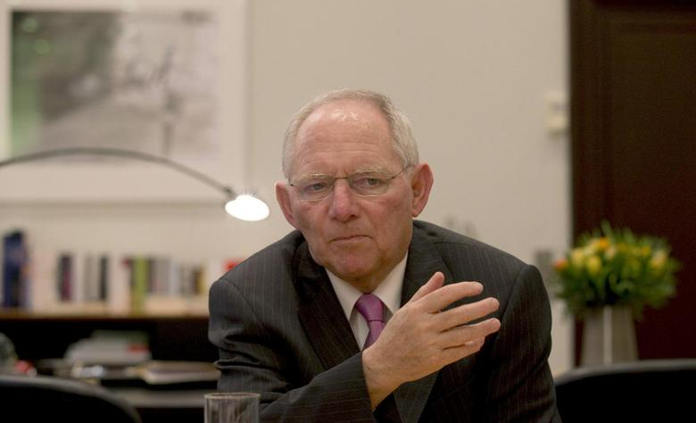 German Finance Minister Wolfgang Schaeuble speaks during an interview with Reuters at the Finance Ministry in Berlin, February 10, 2014. REUTERS/Tobias Schwarz