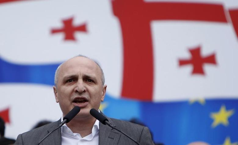 Vano Merabishvili, leader of opposition United National Movement party, addresses people during a rally in Tbilisi, April 19, 2013. REUTERS/David Mdzinarishvili
