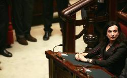 Luxuria na tribuna do Parlamento italiano em Roma em 2006. Uma ex-parlamentar transsexual da Itália disse nesta segunda-feira que foi presa pela polícia russa por cerca de 3 horas por tentar realizar um protesto pelos direitos dos gays durante os Jogos Olímpicos de Inverno em Sochi. 28/04/2006 REUTERS/Alessandro Bianchi