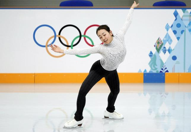 Mao Asada of Japan practises her routine during a figure skating training session at the Iceberg Skating Palace training arena during the 2014 Sochi Winter Olympics February 17, 2014. REUTERS/Lucy Nicholson