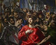 "The three-metre high painting ""El Expolio"", or ""The Disrobing of Christ"", by Spanish Renaissance painter El Greco, is seen in the the sacristy of the Cathedral of Toledo during a ceremony marking its return following restoration January 22, 2014. REUTERS/Paul Hanna"