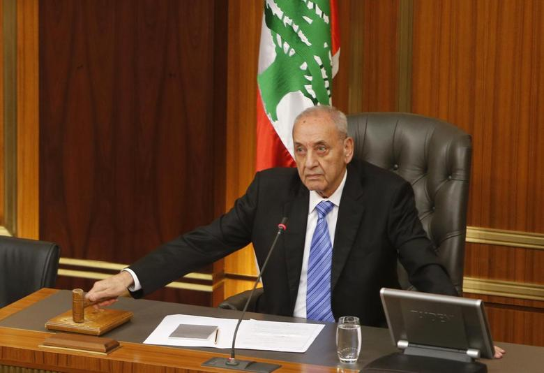 Lebanese Parliament speaker Nabih Berri strikes his gavel at the end of a parliamentary session in parliament in Beirut, May 31, 2013. REUTERS/Mohamed Azakir
