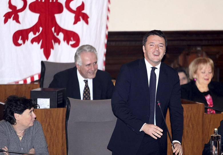 Italy's Prime Minister-designate Matteo Renzi speaks during the town council in Florence February 17, 2014. REUTERS/Stringer