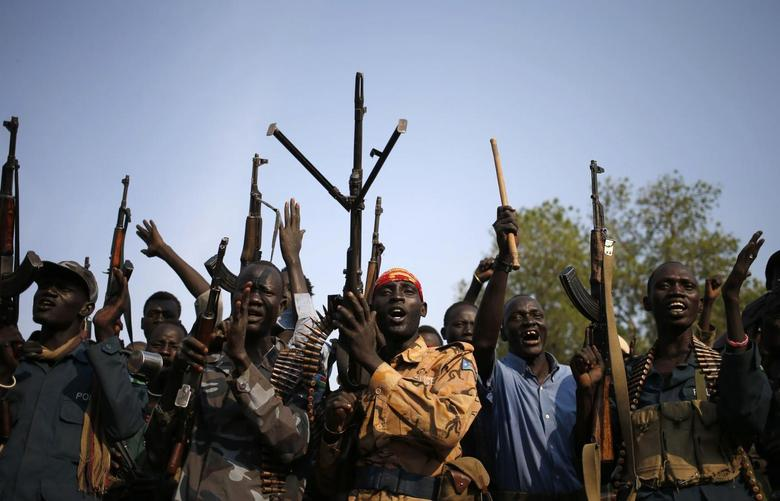Rebel fighters gather in a village in Upper Nile State in this February 8, 2014 file photo. REUTERS/Goran Tomasevic/Files