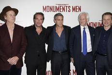 "Cast members Bill Murray (L-R), Jean Dujardin, George Clooney, writer Robert Morse Edsel and actor Matt Damon arrive for the French premiere of the film ""The Monuments Men"" in Paris February 12, 2014. REUTERS/Benoit Tessier"