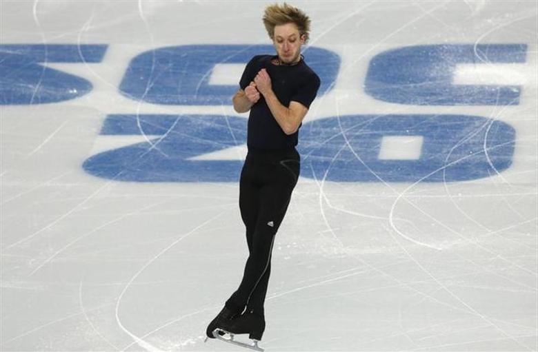 Evgeni Plushenko of Russia spins during a figure skating training session at the Iceberg Skating Palace in preparation for the 2014 Sochi Winter Olympics, in Sochi February 5, 2014. REUTERS/Alexander Demianchuk