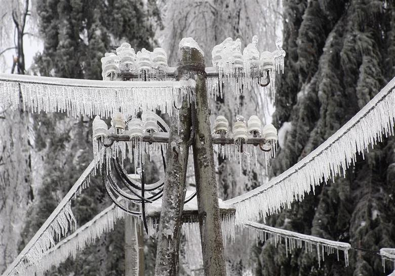 Ice-covered electric power pillar is seen in Postojna February 3, 2014. REUTERS/Srdjan Zivulovic