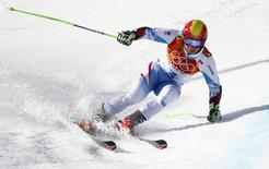 Austria's Marcel Hirscher skis during the second run of the men's alpine skiing giant slalom event at the 2014 Sochi Winter Olympics at the Rosa Khutor Alpine Center February 19, 2014. REUTERS/Ruben Sprich