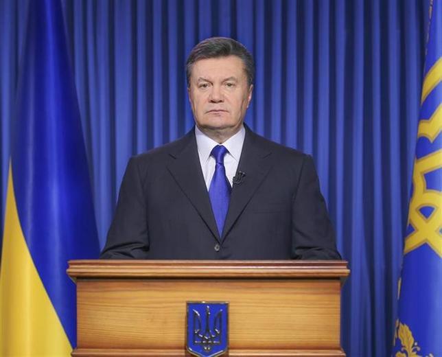 Ukraine's President Viktor Yanukovich makes a statement in Kiev February 19, 2014. REUTERS/Ukraine's Presidential Press Service/Handout via Reuters