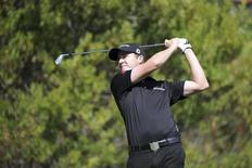 Feb 16, 2014; Pacific Palisades, CA, USA; Jimmy Walker (USA) hits on the fourth hole fourth round of the Northern Trust Open at Riviera Country Club. Mandatory Credit: Andrew Fielding-USA TODAY Sports - RTX18YJV