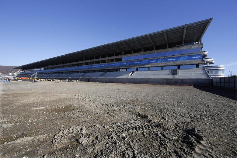 The main tribune and track at the Sochi International Street Circuit under construction for the 2014 Russian Grand Prix are seen in Sochi during the Sochi 2014 Winter Olympics, February 13, 2014. REUTERS/Eric Gaillard