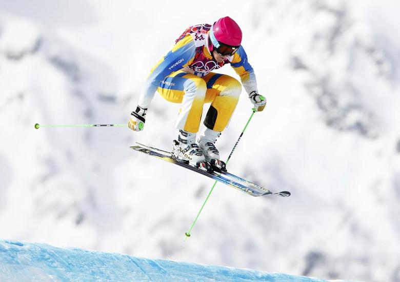 Sweden's Victor Oehling-Norberg competes during the men's freestyle skiing skicross qualification round at the 2014 Sochi Winter Olympic Games in Rosa Khutor February 20, 2014. REUTERS/Lucas Jackson