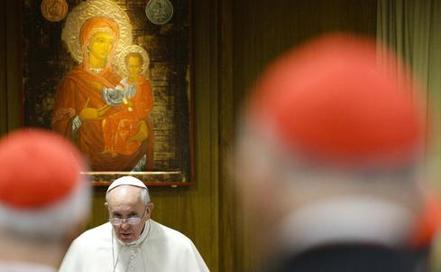 Pope tells cardinals to tackle divisive family issues with courage