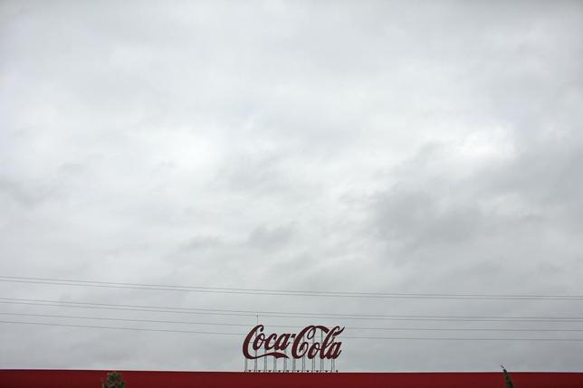 Coca-Cola signage is pictured at a bottling plant near the Andalusian capital of Seville, southern Spain February 6, 2014. REUTERS/Marcelo del Pozo