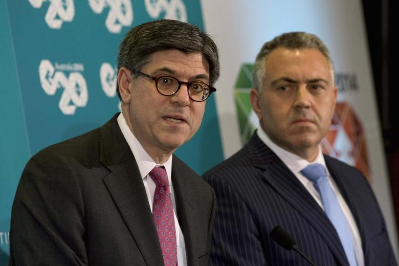 U.S. Treasury Secretary Jack Lew (L) participates in a joint news conference with Australian Treasurer Joe Hockey at the G20 Finance Ministers meeting in Sydney, February 21, 2014. REUTERS/Jason Reed