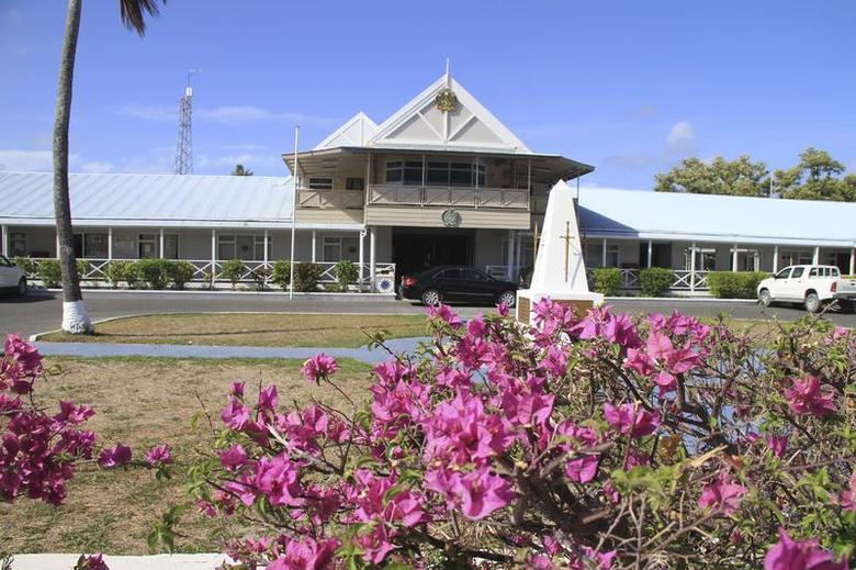 An exterior view of the government offices of the small island nation of Nauru is pictured, February 10, 2012. REUTERS/Rod Henshaw