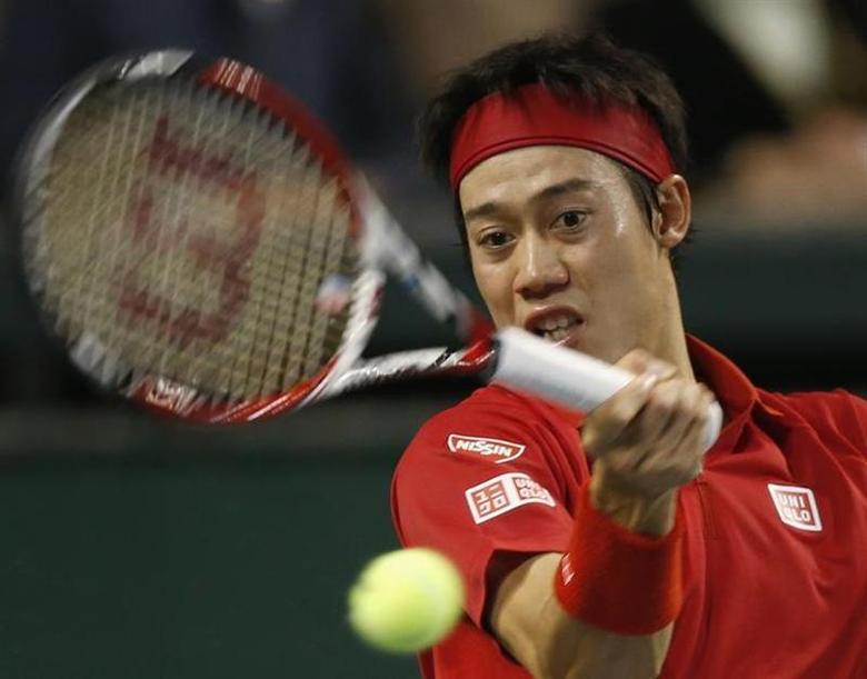 Japan's Kei Nishikori returns a shot against Canada's Frank Dancevic during their Davis Cup world group first round tennis match in Tokyo February 2, 2014. REUTERS/Toru Hanai