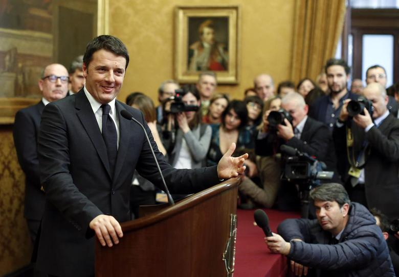 Italian Prime Minister-designate Matteo Renzi talks to reporters at the end of consultations with leaders of Italian parties at the Parliament in Rome February 19, 2014. REUTERS/Tony Gentile