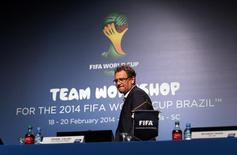 FIFA Secretary General Jerome Valcke arrives to speak about the status of the host city Curitiba ahead of the 2014 FIFA World Cup in Florianopolis in Santa Catarina state, February 18, 2014. REUTERS/Sergio Moraes