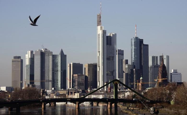 General view of the characteristic Frankfurt skyline with its banking towers, January 16, 2012. REUTERS/Kai Pfaffenbach