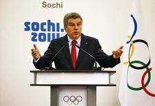 International Olympic Committee (IOC) President Thomas Bach speaks at the IOC session on the final day of the Sochi 2014 Olympic Winter Games in Sochi February 23, 2014. REUTERS/Shamil Zhumatov