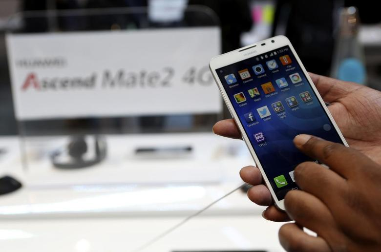 The Huawei Ascend Mate2 4G mobile telephone with an Android operating system is shown at the annual Consumer Electronics Show (CES) in Las Vegas, Nevada January 8, 2014. REUTERS/Robert Galbraith