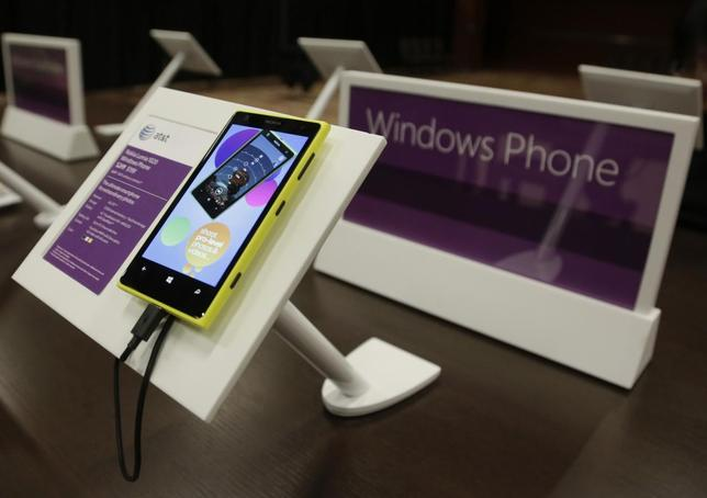 A Windows Nokia Phone is seen on display at Microsoft's annual shareholder meeting in Bellevue, Washington November 19, 2013. REUTERS/Jason Redmond/Files