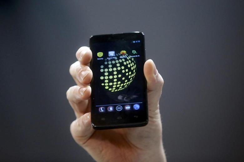 The Blackphone, an Android software-based mobile which encrypts texts, voice calls and video chats, is displayed after being launched during the Mobile World Congress in Barcelona February 24, 2014. Following the Edward Snowden snooping revelations, there is growing interest in a range of mobile phone products with one central selling point: privacy. REUTERS/Albert Gea