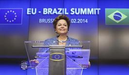 A presidente Dilma Rousseff durante coletiva de imprensa nesta segunda-feira, em Bruxelas. 24/02/2014 REUTERS/Francois Lenoir