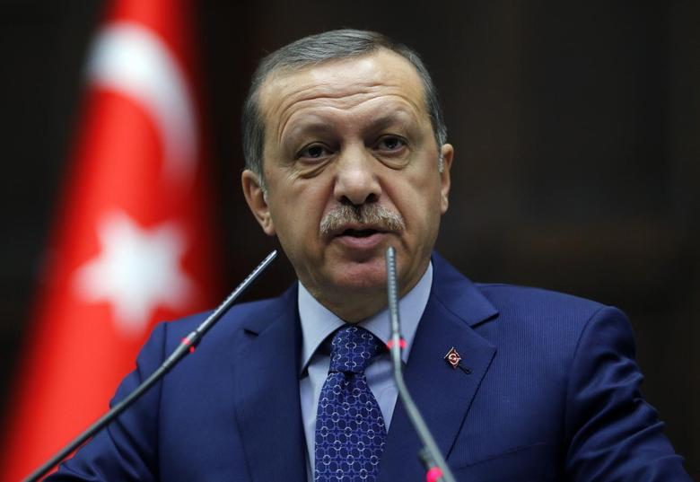 Turkey's Prime Minister Tayyip Erdogan addresses members of parliament from his ruling AK Party (AKP) during a meeting at the Turkish parliament in Ankara February 18, 2014. REUTERS/Umit Bektas