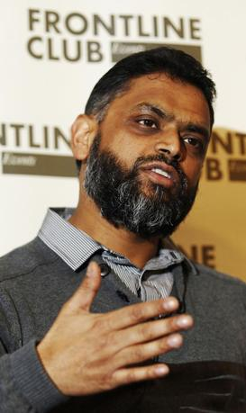 Former Guantanamo detainee Moazzam Begg speaks during a news conference at the Frontline Club in London in this January 10, 2012 file photo. REUTERS/Luke MacGregor/Files