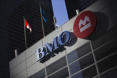 The logo for the Bank of Montreal is seen at its branch Toronto in this file photo from March 5, 2013. Bank of Montreal said on Tuesday its quarterly profit rose 2 percent, topping estimates, as strength in its Canadian branch-banking business and lower loan loss provisions more than made up for a weak performance at its U.S. Operation. REUTERS/Mark Blinch/Files