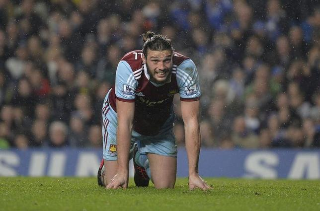 West Ham United's Andy Carroll reacts during their English Premier League soccer match against Chelsea at Stamford Bridge in London, January 29, 2014. REUTERS/Toby Melville