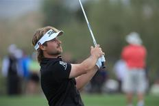 Victor Dubuisson plays the 21st hole during the final round of the World Golf Championships - Accenture Match Play Championship at The Golf Club at Dove Mountain. Mandatory Credit: Allan Henry-USA TODAY Sports