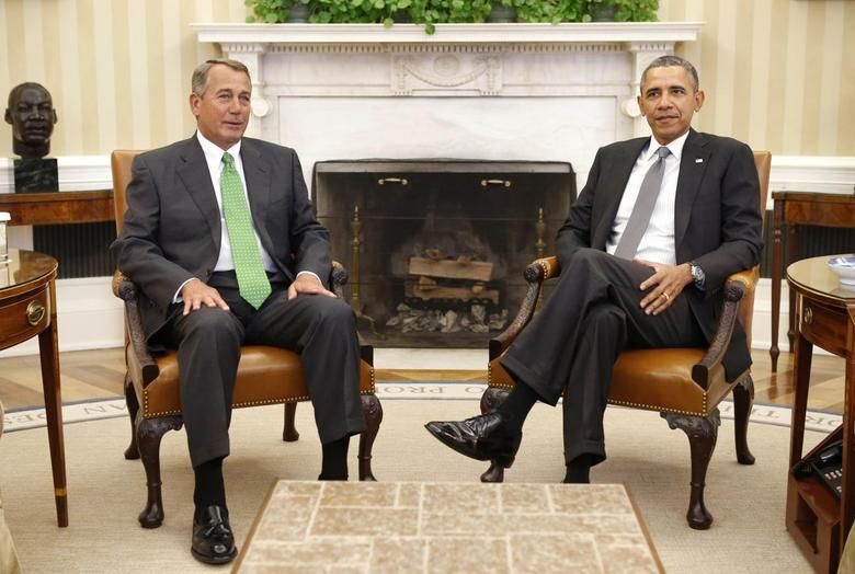 U.S. President Barack Obama meets with Speaker of the House John Boehner in the Oval Office of the White House in Washington February 25, 2014. REUTERS/Kevin Lamarque