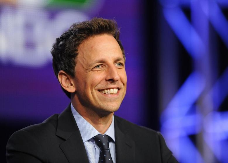 Host Seth Meyers takes part in a panel discussion about ''Late Night with Seth Meyers'' at the NBC portion of the 2014 Winter Press Tour for the Television Critics Association in Pasadena, California, January 19, 2014. REUTERS/Gus Ruelas