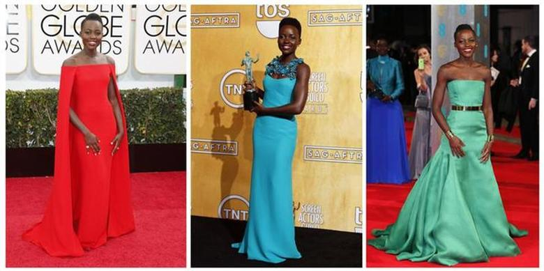 A combination of file photos shows actress Lupita Nyong'o, star of the film ''12 Years a Slave'', wearing designer gowns in 2014. REUTERS/Files